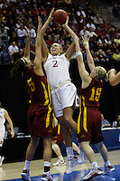 BERKELEY, CA - MARCH 30: Jayne Appel fights through a double team for a shot during Stanford's 74-53 win against the Iowa State Cyclones on March 30, 2009 at Haas Pavilion in Berkeley, California.