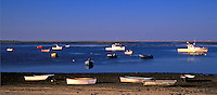 Lobster boats and dinghys anchored in Nauset Harbor, Orleans, Cape Cod