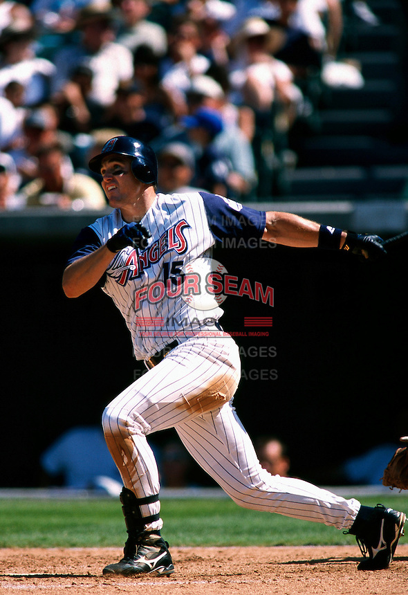 Tim Salmon of the Anaheim Angels plays in a baseball game at Edison International Field during the 1998 season in Anaheim, California. (Larry Goren/Four Seam Images)