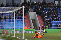 GOAL - Oldham Athletic's Craig Davies scores his side's equalising goal to make the score 1-1 pass the diving Rotherham United's Marek Rodak during the Sky Bet League 1 match between Oldham Athletic and Rotherham United at Boundary Park, Oldham, England on 13 January 2018. Photo by Juel Miah / PRiME Media Images.