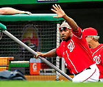 23 September 2010: Washington Nationals' utilityman Willie Harris waves from the dugout prior to a game against the Houston Astros at Nationals Park in Washington, DC. The Nationals defeated the Astros 7-2 for their third consecutive win, taking the series three games to one. Mandatory Credit: Ed Wolfstein Photo