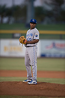 AZL Mariners starting pitcher Yohanse Morel (40) prepares to deliver a pitch during an Arizona League game against the AZL Royals at Peoria Sports Complex on July 25, 2018 in Peoria, Arizona. The AZL Mariners defeated the AZL Royals 5-3. (Zachary Lucy/Four Seam Images)
