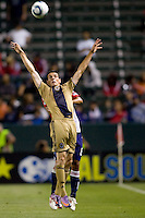 Philadelphia Union forward Sebastien Le Toux (9) leaps high to head a ball. The Philadelphia Union and CD Chivas USA played to 1-1 draw at Home Depot Center stadium in Carson, California on Saturday evening July 3, 2010..