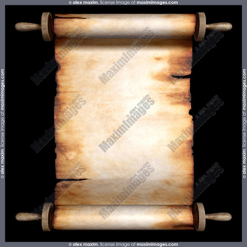 Blank unfolded roll of old yellowish parchment isolated on black background