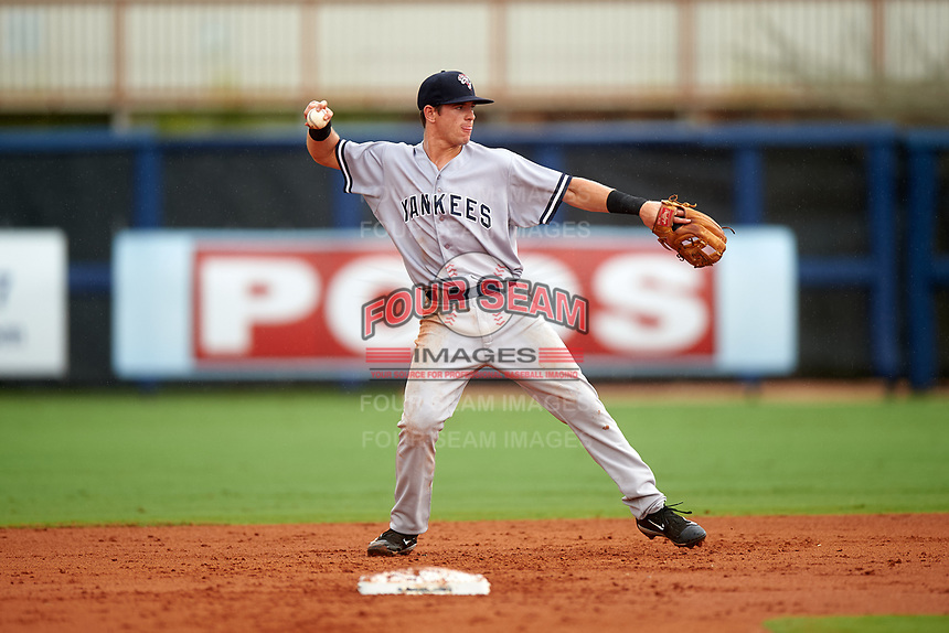 Tampa Yankees second baseman Nick Solak (39) throws to first base during the first game of a doubleheader against the Charlotte Stone Crabs on July 18, 2017 at Charlotte Sports Park in Port Charlotte, Florida.  Charlotte defeated Tampa 7-0 in a game that was originally started on June 29th but called to inclement weather.  (Mike Janes/Four Seam Images)