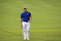Paul Dunne (Europe) on the 8th during the Friday Foursomes of the Eurasia Cup at Glenmarie Golf and Country Club on the 12th January 2018.<br /> Picture:  Thos Caffrey / www.golffile.ie