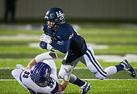 NWA Democrat-Gazette/BEN GOFF @NWABENGOFF<br /> Trindyn Meadows (33), Fayetteville linebacker, tackles Braden Fowler, Springdale Har-Ber wide receiver, in the fourth quarter Friday, Nov. 2, 2018, during the game at Wildcat Stadium in Springdale.
