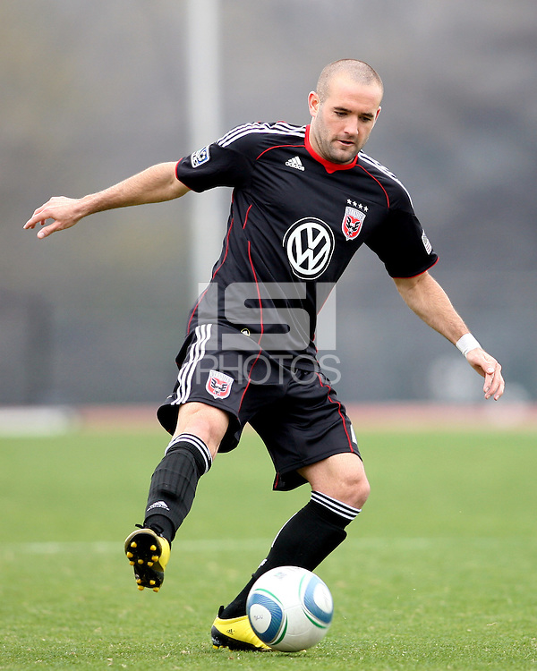 Branden Barklage (24) of D.C. United  during a scrimmage against the University of Virginia at Ludwig Field, University of Maryland, College Park, on April  10 2011. D.C. United won 1-0.