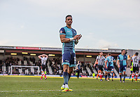 Paris Cowan-Hall of Wycombe Wanderers salutes the support at full time during the Sky Bet League 2 match between Grimsby Town and Wycombe Wanderers at Blundell Park, Cleethorpes, England on 4 March 2017. Photo by Andy Rowland / PRiME Media Images.
