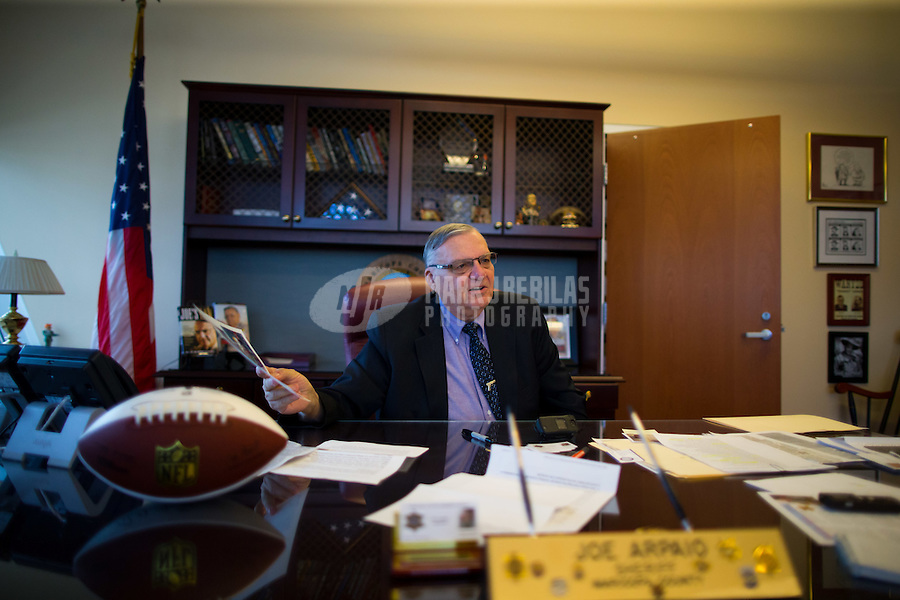 Jan 21, 2015; Phoenix, AZ, USA; Maricopa County sheriff Joe Arpaio in his office in downtown Phoenix. Mandatory Credit: Mark J. Rebilas-