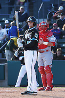 Josh Conway of the Coastal Carolina University Chanticleers at the plate in a game against NC State University at the Baseball at the Beach Tournament held at BB&T Coastal Field in Myrtle Beach, SC on February 28, 2010.