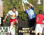 28 March 2007: Toronto goalkeeper Greg Sutton (right) claims the cross in front of New York's John Wolyniec (15). Toronto FC defeated the New York Red Bulls 2-1 at Blackbaud Stadium in Cary, North Carolina in the 2007 Carolina Challenge Cup.