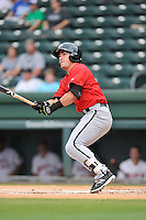 Shortstop Danny Mendick (14) of the Kannapolis Intimidators bats in a game against the Greenville Drive on Thursday, Aug. 18, 2016, at Fluor Field at the West End in Greenville, South Carolina. Greenville won, 2-0. (Tom Priddy/Four Seam Images)
