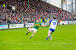 In Action Kerry's Jonathan Lyne and Monaghan's Paul Finlay in the Allianz Football League Kerry V Monaghan at Austin Stack Park on Sunday