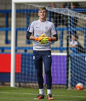 Goalkeeper Will Mannion (Hull City) of England U19  warms up during the International match between England U19 and Netherlands U19 at New Bucks Head, Telford, England on 1 September 2016. Photo by Andy Rowland.