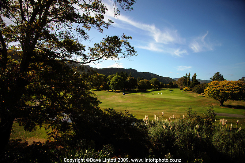 A general view of the 18th fairway during the Trans Tasman Cup at Royal Wellington Golf Club, Wellington, New Zealand on Monday, 29 March 2010. Photo: Dave Lintott / lintottphoto.co.nz