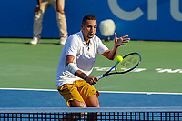 Washington, DC - August 4, 2019:  Nick Kyrgios (AUS) charges to the net during the Citi Open ATP Singles final at William H.G. FitzGerald Tennis Center in Washington, DC  August 4, 2019.  (Photo by Elliott Brown/Media Images International)