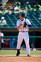 Montgomery Biscuits left fielder Joe McCarthy (31) at bat during a game against the Mississippi Braves on April 25, 2017 at Montgomery Riverwalk Stadium in Montgomery, Alabama.  Mississippi defeated Montgomery 3-2.  (Mike Janes/Four Seam Images)