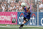 27 August 2011: Western New York's Ashlyn Harris saves a penalty by Philadelphia's Laura del Rio (ESP) (not pictured) to win the title. Western New York Flash defeated the Philadelphia Independence 5-4 on penalty kicks to win the final after the game ended in a 1-1 tie after overtime at Sahlen's Stadium in Rochester, New York in the Women's Professional Soccer championship game.