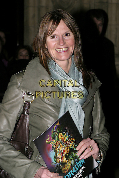 GWYNETH STRONG.Press Night of Dralion, Cirque Du Soleil, Royal Albert Hall, London..December 6th, 2004.headshot, portrait, blue scarf, programme, program.www.capitalpictures.com.sales@capitalpictures.com.© Capital Pictures.