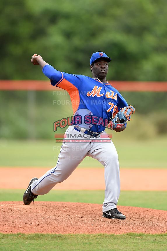 New York Mets pitcher Domingo Tapia (75) during a minor league spring training game against the St. Louis Cardinals on March 27, 2014 at the Port St. Lucie Training Complex in Port St. Lucie, Florida.  (Mike Janes/Four Seam Images)