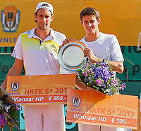 2013-08-17, Netherlands, Raalte,  TV Ramele, Tennis, NRTK 2013, National Ranking Tennis Champ,  Winners doubles: Sidney de Boer(L) and Daan Maasland<br /> <br /> Photo: Henk Koster