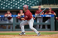 Jake Alu (1) of the Boston College Eagles follows through on his swing against the North Carolina State Wolfpack in Game Two of the 2017 ACC Baseball Championship at Louisville Slugger Field on May 23, 2017 in Louisville, Kentucky. The Wolfpack defeated the Eagles 6-1. (Brian Westerholt/Four Seam Images)