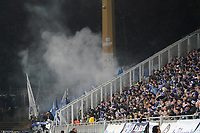 Fans des Karlsruher SC mit Bengalos - 29.10.2019: SV Darmstadt 98 vs. Karlsruher SC, Stadion am Boellenfalltor, 2. Runde DFB-Pokal<br /> DISCLAIMER: <br /> DFL regulations prohibit any use of photographs as image sequences and/or quasi-video.