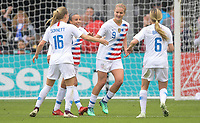 Houston, TX - Sunday April 8, 2018: Lindsey Horan celebrates a goal with her teammates during an International friendly match versus the women's National teams of the United States (USA) and Mexico (MEX) at BBVA Compass Stadium.