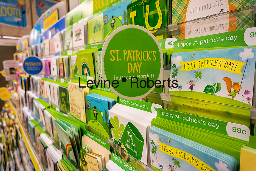 St. Patrick's Day greeting cards for sale in a store in New York on Tuesday, March 8, 2016. According to the National Retail Federation's St. Patrick's Day survey Americans will spend slightly less money on the holiday this year, an average of $35.40 as opposed to last year's $36.50 per person. (© Richard B. Levine)