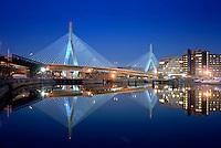 Zakim Bridge night view, Boston, MA
