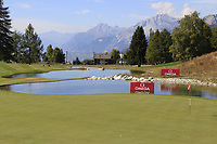 View of the 13th green during Sunday's Final Round 4 of the 2018 Omega European Masters, held at the Golf Club Crans-Sur-Sierre, Crans Montana, Switzerland. 9th September 2018.<br /> Picture: Eoin Clarke | Golffile<br /> <br /> <br /> All photos usage must carry mandatory copyright credit (&copy; Golffile | Eoin Clarke)