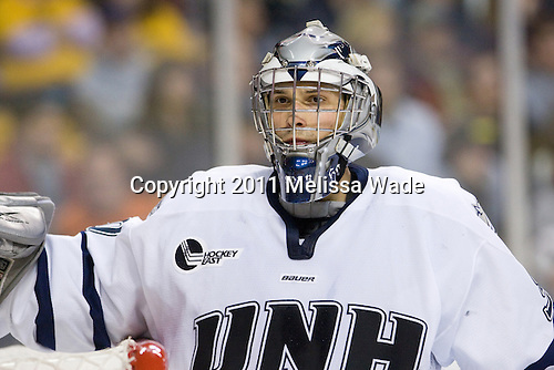 Matt DiGirolamo (UNH - 30) - The Merrimack College Warriors defeated the University of New Hampshire Wildcats 4-1 (EN) in their Hockey East Semi-Final on Friday, March 18, 2011, at TD Garden in Boston, Massachusetts.