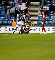 Ipswich Town's Joe Garner is looking for the foul during the Sky Bet Championship match between Millwall and Ipswich Town at The Den, London, England on 15 August 2017. Photo by Carlton Myrie.