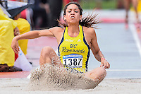 Danielle Littleton UC Riverside competes in first round of long jump during West Preliminary Track & Field Championships at John McDonnell Field, Thursday, May 29, 2014 in Fayetteville, Ark. (Mo Khursheed/TFV Media via AP Images)