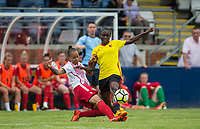 Dom Godbeer of Stevenage Ladies tackles Rinsola Babajide of Watford Ladies during the pre season friendly match between Stevenage Ladies FC and Watford Ladies at The County Ground, Letchworth Garden City, England on 16 July 2017. Photo by Andy Rowland / PRiME Media Images.