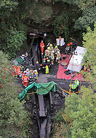 Pictured: Aerial view of rescuers outside Gleision Colliery. Friday 16 September 2011<br />