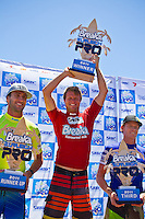 Burleigh Heads, Queensland, Australia (Sunday February 20th 2011). Joel Parkinson (AUS) 2nd, Taj Burrow (AUS) 1st and Bede Durbidge (AUS) 3rd..Breaka Burleigh Pro - 2011 An International 4-Star Rated $US85,000 Event. DEFENDING event champion Taj Burrow (AUS) spun his way to victory today in the Breaka Burleigh Pro. Run at high tide along the Burleigh rock break. Burrow landed air reverse after air reverse to lock down the win. Joel Parkinson (AUS) in second made a late charge but ran out of time. Bede Durbidge (AUS) was third with Jayke Sharpe (AUS) in his first ever final finishing 4th. . Photo: joliphotos.com