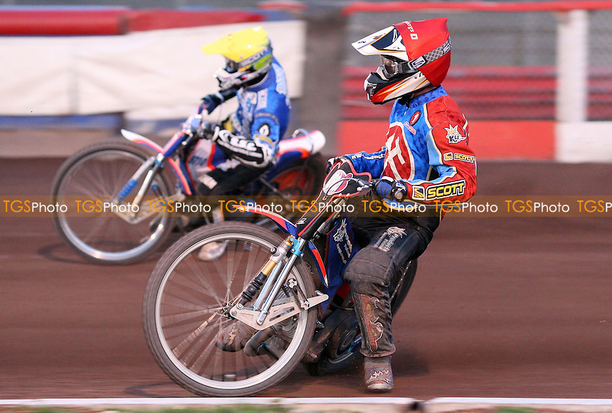 Heat 13: Andreas Jonsson (red) and Davey Watt (yellow) - Lakeside Hammers vs Poole Pirates at The Arena Essex Raceway, Lakeside - 30/05/08 - MANDATORY CREDIT: Rob Newell/TGSPHOTO