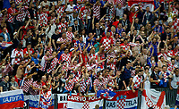 MOSCU - RUSIA, 11-07-2018: Hinchas de Croacia celebran el paso de su equipo a la final después del partido de Semifinales entre Croacia y Inglaterra por la Copa Mundial de la FIFA Rusia 2018 jugado en el estadio Luzhnikí en Moscú, Rusia. / Fans of Croatia celebrate the passs of their team to the fional after the match between Croatia and England of Semi-finals for the FIFA World Cup Russia 2018 played at Luzhniki Stadium in Moscow, Russia. Photo: VizzorImage / Julian Medina / Cont
