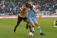 Lucas Leiva of Lazio  , Emmanuel Badu of Udinese <br /> Roma 17-4-2019 Stadio Olimpico Football Serie A 2018/2019 SS Lazio - Udinese <br /> Foto Andrea Staccioli / Insidefoto