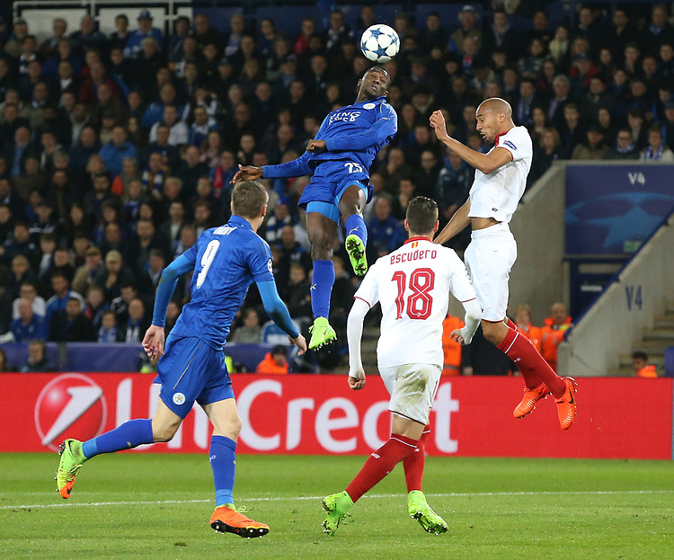 Leicester City's Wilfred Ndidi<br /> <br /> Photographer Stephen White/CameraSport<br /> <br /> UEFA Champions League Round of 16 Second Leg - Leicester City v Sevilla - Tuesday 14th March 2017 - King Power Stadium - Leicester <br />  <br /> World Copyright &copy; 2017 CameraSport. All rights reserved. 43 Linden Ave. Countesthorpe. Leicester. England. LE8 5PG - Tel: +44 (0) 116 277 4147 - admin@camerasport.com - www.camerasport.com