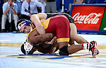 BROOKINGS, SD - NOVEMBER 4:  Collin Holler from South Dakota State controls Renaldo Rodriguez-Spencer from Iowa State in their 157 pound match Friday evening at Frost Arena in Brookings. (Photo by Dave Eggen/Inertia)
