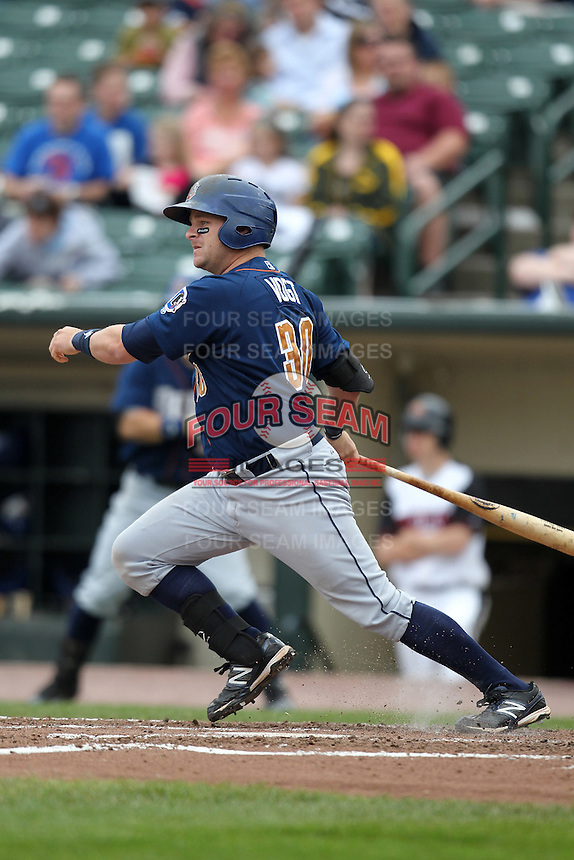 Durham Bulls designated hitter Stephen Vogt #30 hits a triple during a game against the Empire State Yankees at Frontier Field on May 13, 2012 in Rochester, New York.  Durham defeated Empire State 3-1.  (Mike Janes/Four Seam Images)