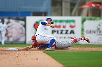 Dunedin Blue Jays second baseman Dickie Joe Thon (2) tags Collin Radack (28) sliding in during the first game of a doubleheader against the Palm Beach Cardinals on August 2, 2015 at Florida Auto Exchange Stadium in Dunedin, Florida.  Palm Beach defeated Dunedin 4-1.  (Mike Janes/Four Seam Images)