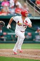 Springfield Cardinals third baseman Jacob Wilson (4) runs to first base during a game against the San Antonio Missions on June 4, 2017 at Hammons Field in Springfield, Missouri.  San Antonio defeated Springfield 6-1.  (Mike Janes/Four Seam Images)