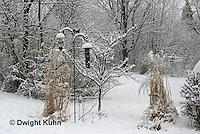 HS73-506z  Bird feeders in backyard garden, Winter snow