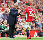 Jose Mourinho manager of Manchester United talks to Ander Herrera of Manchester United during the Premier League match at Old Trafford Stadium, Manchester. Picture date: September 10th, 2016. Pic Simon Bellis/Sportimage