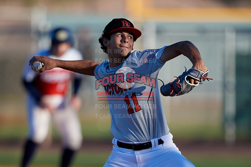 Jared Jones during the Under Armour All-America Pre-Season Tournament, powered by Baseball Factory, on January 19, 2019 at Sloan Park in Mesa, Arizona.  Jared Jones is a right handed pitcher / outfielder from Whittier, California who attends La Mirada High School and is committed to USC.  (Mike Janes/Four Seam Images)