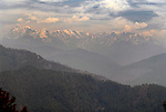 View of the Himalayas from Kausani in Uttarakhand in India.